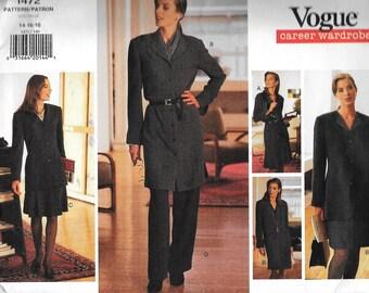 Vogue 1472 Career Wardrobe Pattern Jacket, Dress, Top, Skirt, Pants Sewing Pattern UNCUT Size 14, 16, 18