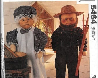 McCall's 5464 Grandma and Grandpa Dolls Sewing Pattern Uncut Fay Wine American Gothic Pitch Fork