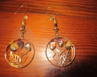 "Fine, Large Hoop Pierced Earrings w/Genuine CITRINE, AMETHYST, QUARTZ ""Flower"" Gems, Figural Leaf, Gold Pearl on 14K Gold Flower Ear Wire"