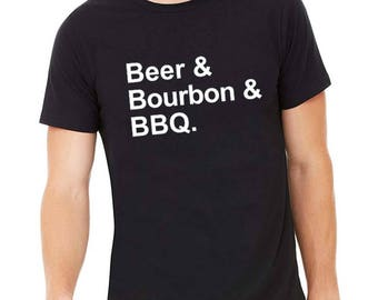 Beer Bourbon Barbecue Shirt, Fun Beer Shirt, BBQ, Bourbon Shirt, Gift for Bourbon Lover, Kentucky Derby