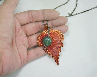Real Birch leaf electroplaquee of copper with tourmali