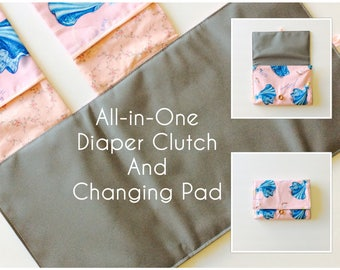 READY TO SHIP All-in-One Diaper Clutch and Changing Pad, Cinderella Print/Pink diaper clutch and changing pad