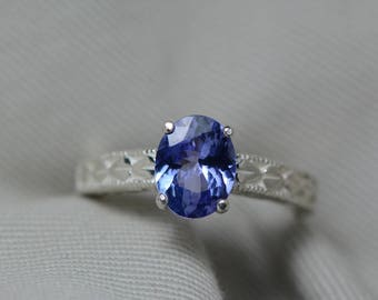 Tanzanite Ring, 1.62 Carat Tanzanite Solitaire Ring, Sterling Silver, Certified, Oval Cut, Birthday Anniversary Christmas Engagement