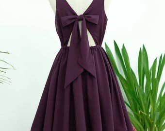 Plum dress Plum  backless dress Plum  party dress Plum prom dress Plum cocktail dress bow back dress Plum bridesmaid dresses