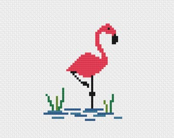 Flamingo cross stitch pattern digital download