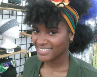 Reversible African Print Fabric Tie on Headband/Bow Tie