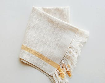 Vintage Woven Small Table Runner with Yellow Stripes - Modern Farmhouse Table Centerpiece