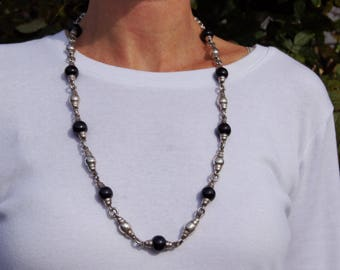 Obsidian Bead and Sterling Long Taxco Necklace