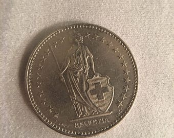 1991 Switzerland 2 Francs Helvetia / world coin/ vintage numismatics