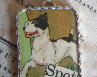 Fiona & The Fig-Vintage Circa 1935-Dick and Jane Story Book - Spot The Dog - Soldered Charm - Necklace - Pendant-Jewelry