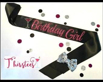 BIRTHDAY GIRL Pink Glitter Birthday Sash Party Sash birthday girl sash pink and black theme birthday sash with bow birthday party birthday