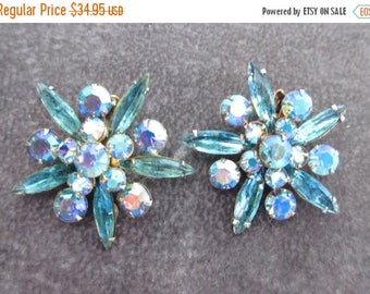 25% Off Gorgeous Signed Vintage Judy Lee Prong Set Turquoise & AB Rhinestone Earrings, Navette