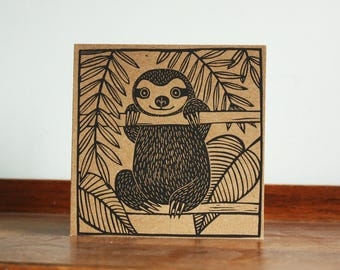 Sloth, Animal Card, Original Hand Printed Card, Linocut Card, Blank Greeting Card, Brown Kraft Card, Free Postage in UK,