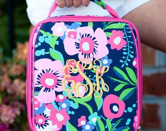 FREE pencil pouch offer FREE monogramming - Personalized Monogrammed Embroidered Hot Pink Posie Flowers Lunch pack Lunch box