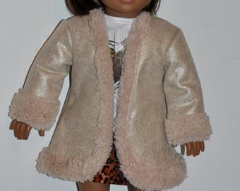 Custom made doll clothes fits American Girl 18 inch dolls- SHIMMERING Bonded Llama SHERPA Sand coat, boots, and hat set