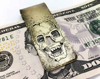 Skull money clip , hand made brass money clip, one of a kind, memento mori #8