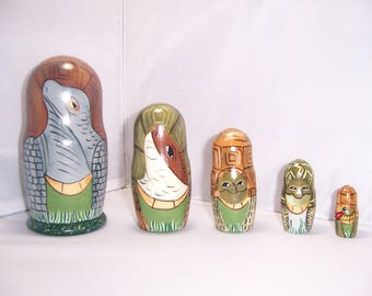 Hand painted Turtles Collection stacking nesting doll set