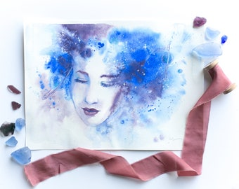 "Watercolor painting ""Forethought"" - spiritual portrait, space, stars, portrait, fashion art, bridal art"