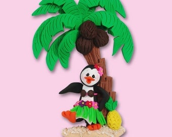 POLLY PENGUIN w/ Hula Skirt Personalized Vacation Ornament Handmade Polymer Clay Ornament - Limited Edition