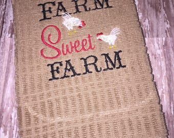 Farm Sweet Farm embroidered kitchen towel - farm kitchen towel - farm hand towel - farm house warming gift - wedding gift - made to order