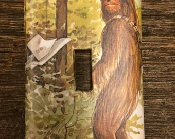 Chewbacca Upcycled /Recycled Light Switch Plate