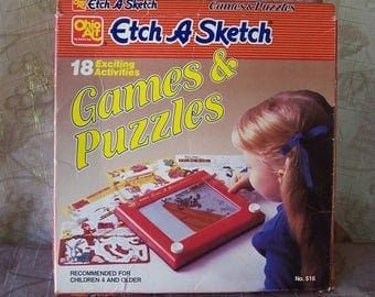Vintage 1988 Etch a Sketch games and activities set.  C6-644-1