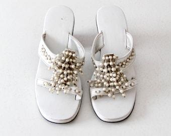 vintage chunky heel sandals, beaded tassel open toe shoes size 7.5