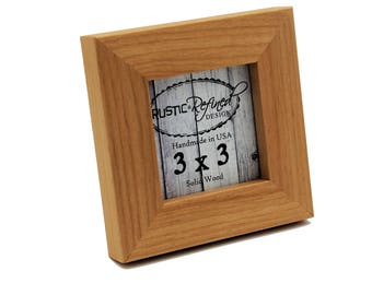 "3x3 1"" Gallery Picture Frame - Solid Natural Alder - Instagram, Home Decor, Wedding Favors, Wall Decor, Solid Wood, Handmade, Free Shipping"