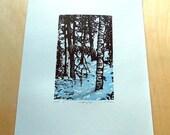 Linocut - Winter forest study