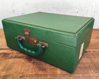 Vintage Green Train Case Suitcase - Locking with Keys