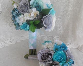 Wedding Bouquet Turquoise Bridal Teal Silk Flowers