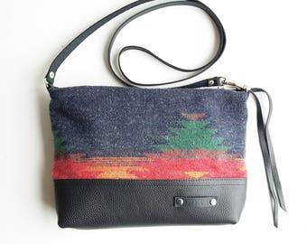Navajo design Woven Wool Cross Body bag // boho bag // wool and leather bag