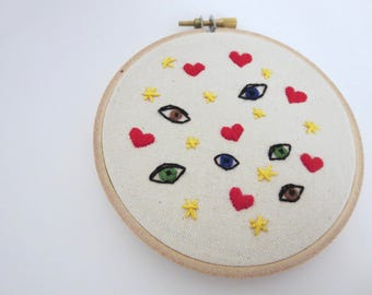 Small Wall Art Embroidery Hoop Art Eyes Hearts Starts Original Embroidered Art