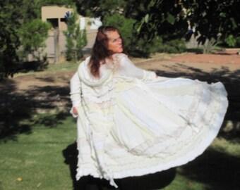 Sweater coat upcycled Sweater Coat Gypsy Elf Hoodie Prairie Wedding Boho Vintage Lace