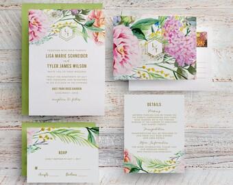 bohemian floral wedding invitations, garden floral wedding invitation, spring floral wedding invitation, botanical garden wedding invitation