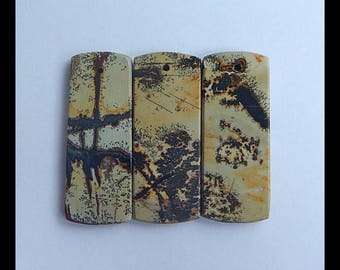 3 PCS Chohua Jasper Gemstone Pendant Set,34x14x4mm,10.9g(g0379)