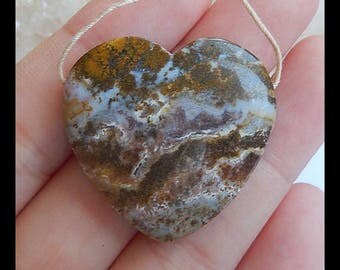Natural Ocean Jasper Gemstone Heart Pendant Bead,30x29x8mm,10.8g(h0990)
