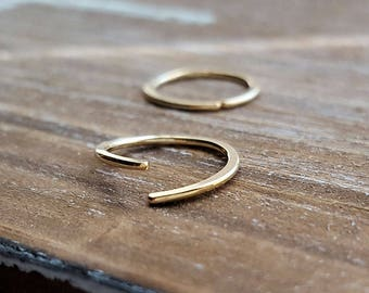 Gold Endless Hoops, 18g Earrings, 14k Gold Filled Artisan Jewelry - Lobe, Cartilage, Nose - choice of size