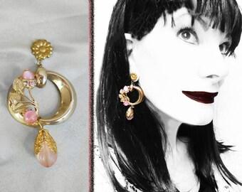 Wide Dangle Earrings are Hoop Earrings with Blush Pink, OOAK Pink Gypsy Hoops, 2 1/2 inch Dangles, Long Hoop Earrings Made with Vintage