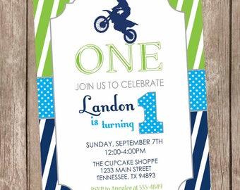 Motocross birthday invitation, dirt bike 1st birthday invitation, boy birthday invitation, lime, navy dirt bike birthday invitation ANY AGE