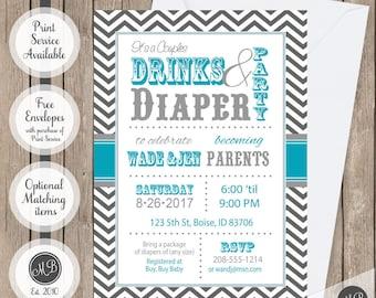 Couples baby shower invitation, co-ed baby shower invitation, drinks and diapers invitation, chevron couples invite, printable invite bbq1