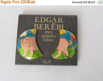 On Sale Edgar Berebi Vintage Pig Clip On Earrings with Card Vintage Berebi Pig Earrings Vintage Enamel Earrings