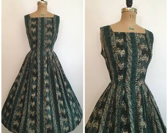 Vintage 1950's Tiki Tribal Novelty Print Dress 50's Lynbrook Sundress
