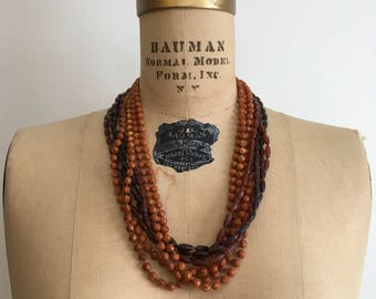 1950s 1960s  Multi Strand Brown Bead Necklace 50s 60s