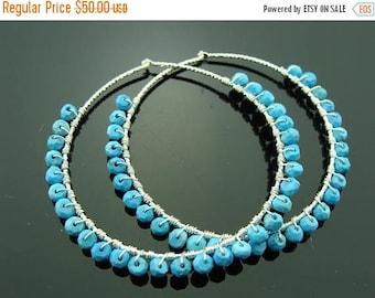 Sleeping Beauty Turquoise Hoops 925 Sterling Silver Earrings