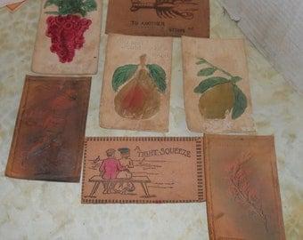 Lot of ~7~ Vintage Unused Leather Postcard/Postcards~Golfer/Fruit & More