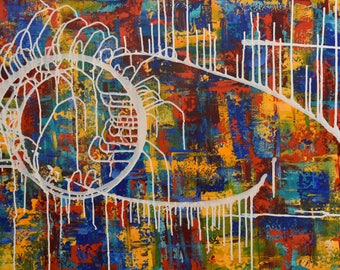 Abstract Painting ... Abstract Expressionism ... Primary Colors ... White ... Dripping Paint ... White ... 24 x 36 Art