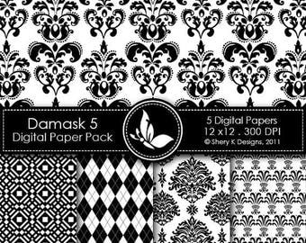 40% off Printable Damask Paper Pack 5 - 5 Printable Digital scrapbooking papers - 12 x12 - 300 DPI