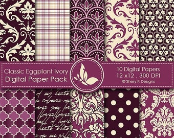 40% off Classic Eggplant and Ivory Paper Pack - 10 Printable Digital Scrapbooking papers - 12 x12 - 300 DPI