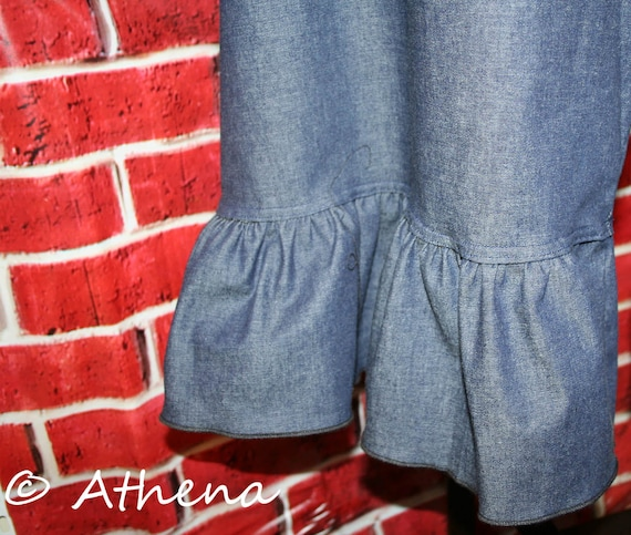 Womens Ruffle Pants Knit Waistband One Ruffle  (Custom Made)  XXS - 4XL